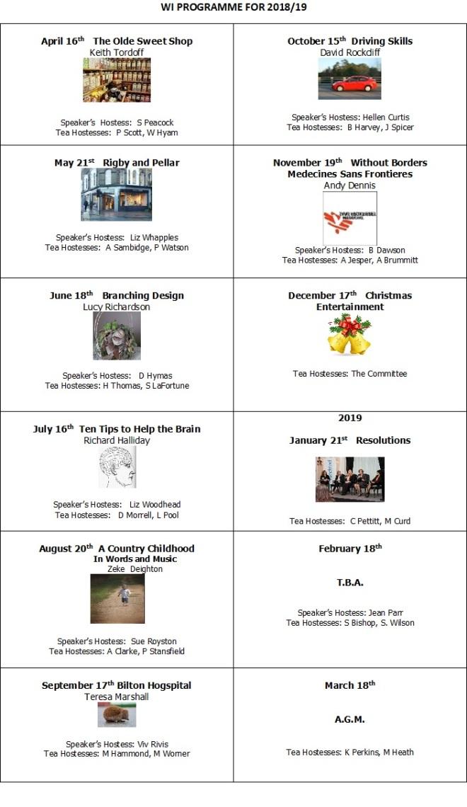 WI Programme 18-19